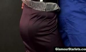 Sexy glam euro playgirl sucks on dick