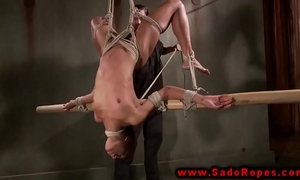 Bdsm ebon hung from ceiling as torment by her dom
