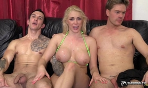 Hot golden-haired group-fucked in her living room