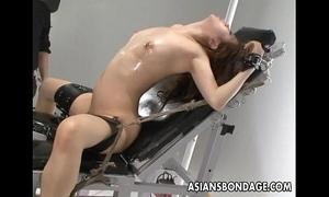 Nasty oriental whore in thraldom acquires her wet crack teased