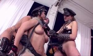 Lesbian three-some belt on anal dp