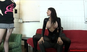 Goth hottie and sexy ally ballbusting face sitting lesbian babes