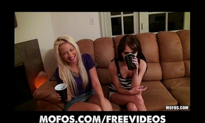 Two lustful gfs turn a party into an fuckfest