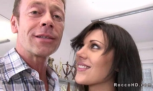 Hot brunette hair scarlet a acquires anal drilled from behind on ottoman