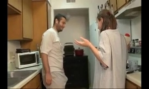 Brother and sister oral stimulation in the kitchen