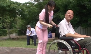 Subtitled extraordinary japanese half nude caregiver outdoors