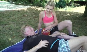 Gorgeous blonde girl with small cans pleasuring old guy outdoors
