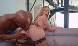 Spicy blonde girl in fishnet stockings takes BBC in her butt