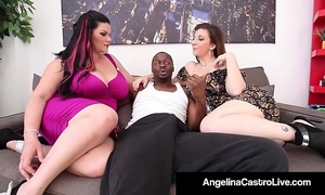 Cuban queen angelina castro & sara jay blow a large dark rod