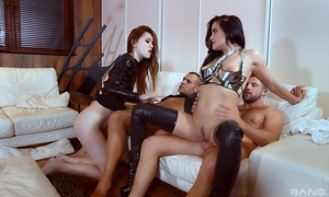 Two nymphomaniac sluts get roughly fucked in the living room