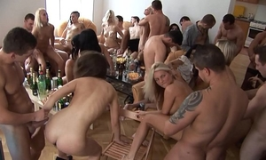 Beautiful czech cuties giving a head at home party
