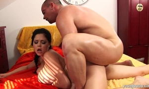 Young shione receives large melons drilled