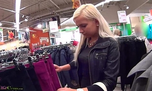 Two beauties on public have sex for shopping free