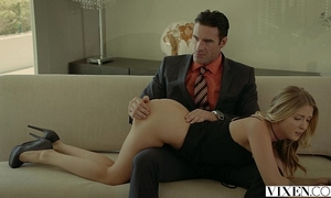 Vixen.com rich boss acquires 3some with 2 blondes