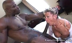 Old granny takes a large dark dong in her gazoo anal interracial movie scene