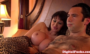 Hugetitted milf fucked into ass and atm deepthroat