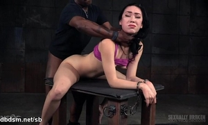 Rough deepthroating and ferocious servitude fucking experience for cute sweetheart