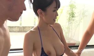 Busty oriental boobjon on washroom trio