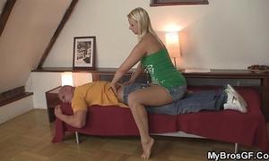 Blonde cheater rides weenie after massage