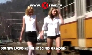 Two white babes screwed by a large back knob
